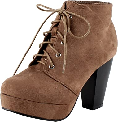 Forever Camille-86 Comfort Stacked Chunky Heel Lace Up Ankle Booties​
