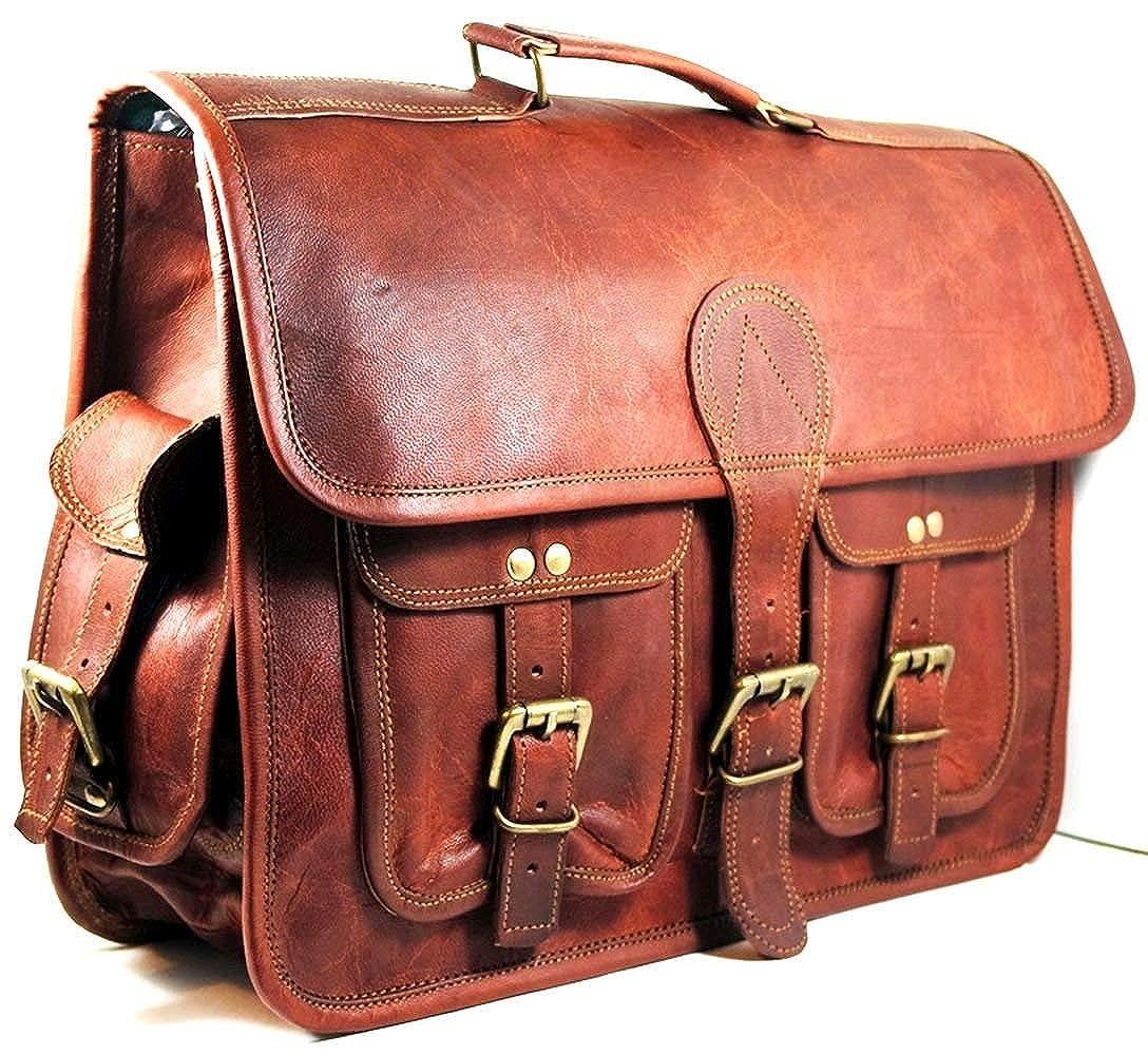 CraftShades Laptop Messenger Bag Handmade Leather Vintage Style Satchel Bag 16X12X5 Inches Brown