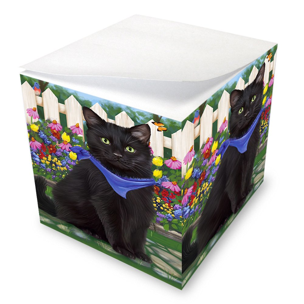 Spring Floral Black Cat Note Cube NOC52187