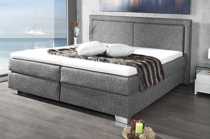 Cama de diseño moderno con somier Queens 160 x 200 cm gris ...