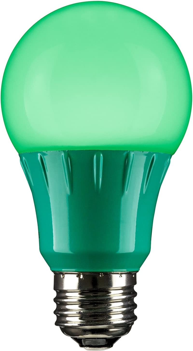 Sunlite A19/3W/G/LED LED A19 Colored Light Bulb, 3 Watts (25w Equivalent), E26 Medium Base, Non-Dimmable, UL Listed, 1 Pack, Green