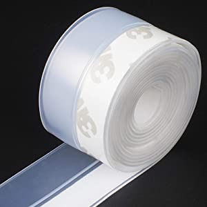 Butecare Silicone Seal Strip,10M/33ft Door Strip Bottom for Doors Silicone Sealing Sticker Adhesive for Doors and Windows Gaps of Anti-Collision Silicone (25MM, Transparent)