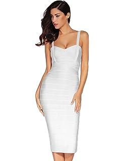 8e4820b0cddd Meilun Women's Strap Midi Bandage Dress Length Party Solid Prom Bodycon  Dress