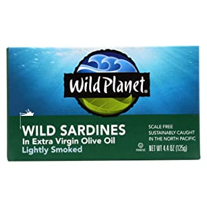 Wild Planet Wild California Sardine in Extra Virgin Olive Oil, 4.375 Ounce - 12 per case.