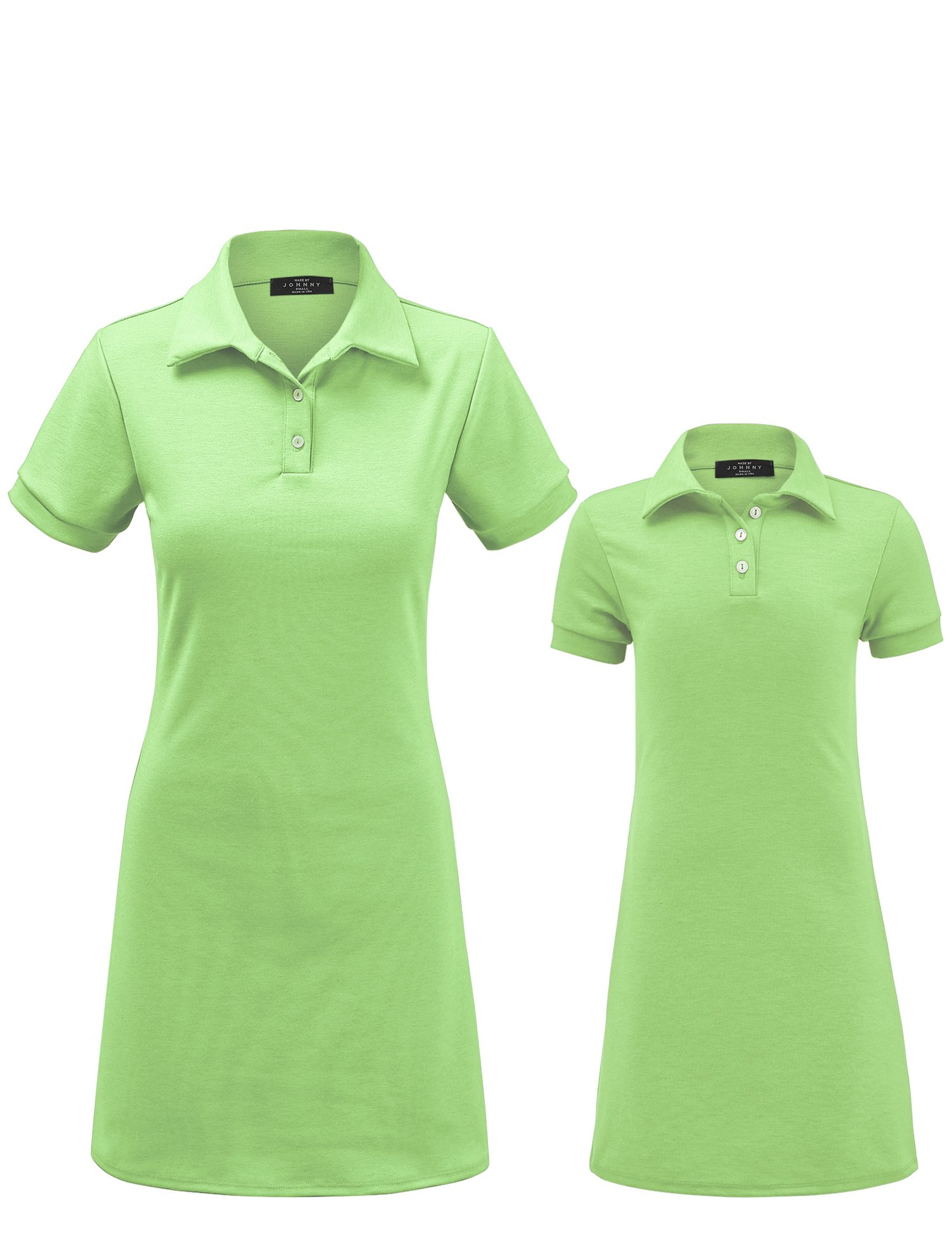 MBJ Kids KDR1511 Mommy and Me Short Sleeve Polo Dress - Made in USA KM Mint