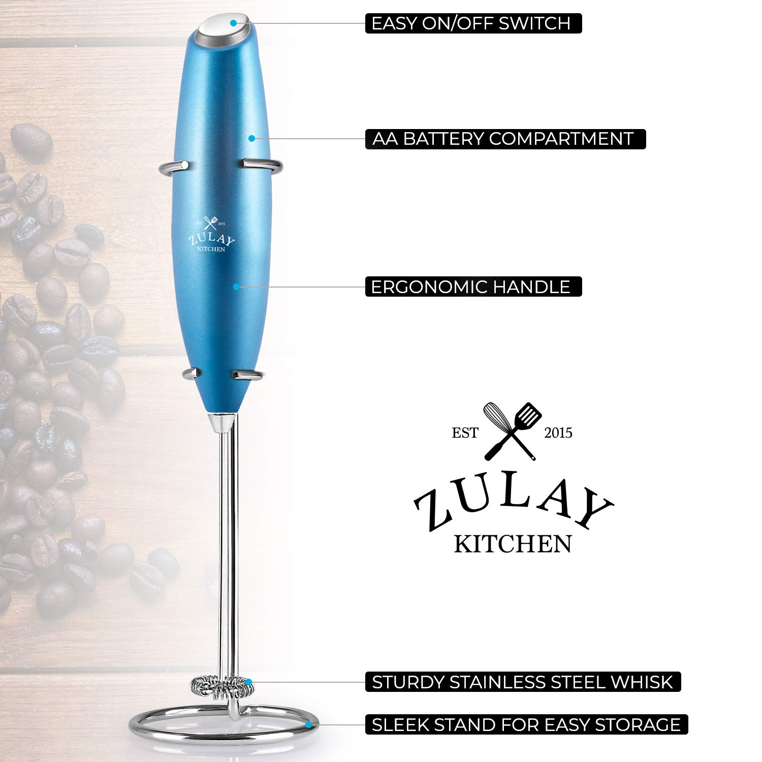 Zulay Original Milk Frother Handheld Foam Maker for Lattes  Whisk Drink Mixer for Bulletproof Coffee