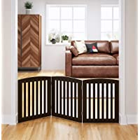 PAWLAND Wooden Freestanding Foldable Pet Gate for Dogs, 24 inch 3 Panels Step Over Fence, Dog Gate for The House…