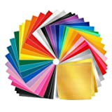 Adhesive Vinyl Sheets - 50 Pack 12'' X 12'' Premium Permanent Self Adhesive Vinyl Sheets in 38 Assorted Colors for Cricut,Silhouette Cameo,Craft Cutters,Printers,Letters,Decals (Color: Glossy White, Tamaño: 12 X 12 Inch)