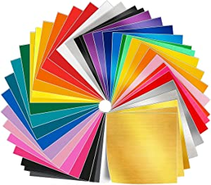 Adhesive Vinyl Sheets - 50 Pack 12'' X 12'' Premium Permanent Self Adhesive Vinyl Sheets in 38 Assorted Colors for Craft Cutters,Printers,Letters,Decals