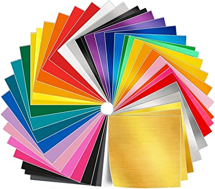 """Self Adhesive Vinyl Sheets 40 Pack Colors Cricut Silhouette Cameo Decal 12x12/"""""""