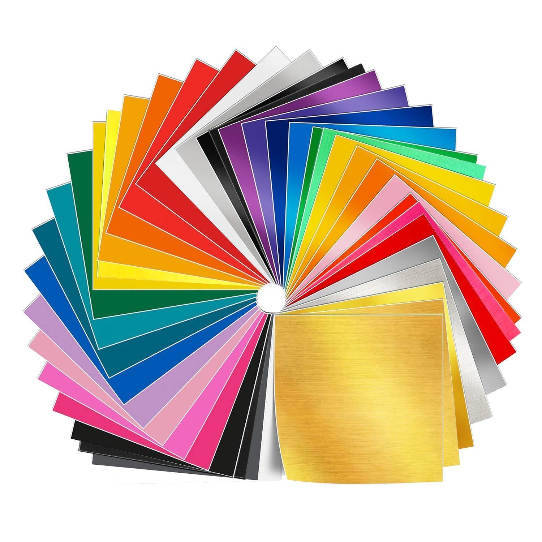 Adhesive Vinyl Sheets - 50 Pack 12'' X 12'' Premium Permanent Self Adhesive Vinyl Sheets in 38 Assorted Colors for Cricut, Silhouette Cameo, Craft Cutters, Printers, Letters, Decals Shanghai LG IMP&EXP CO. LTD Vinyl Sheets 50 Pack