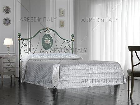 Letto Matrimoniale Rete Materasso.Letto Matrimoniale In Ferro Colore Verde Decape Con Giroletto