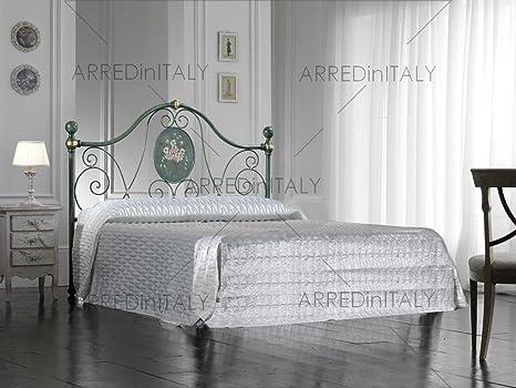 Letto Matrimoniale Completo Di Materasso.Letto Matrimoniale In Ferro Colore Verde Decape Con Giroletto