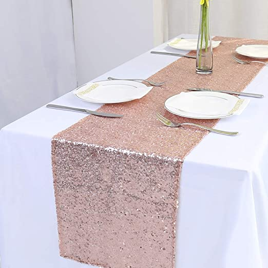 Rose Gold Geometric Sequin Table Runner-12x108 Inch