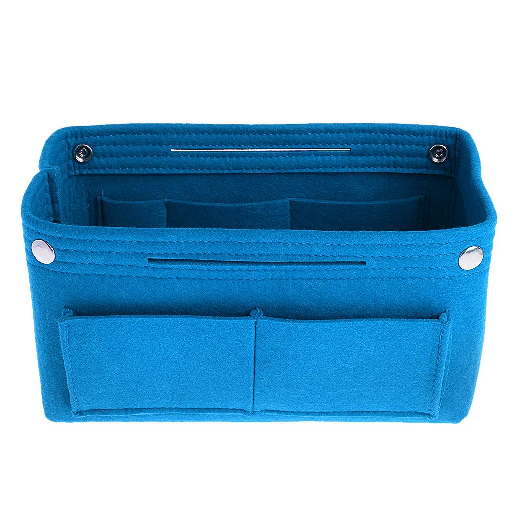 Poity Felt Makeup Bag Handbag Organizer Purse Insert Bag Fabric Storage Cosmetic Pouch—Blue M