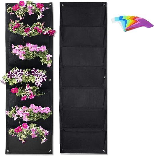 Macetas de pared para colgar en el jardín, vertical, 2 unidades, con etiquetas para plantas y guantes de jardín: Amazon.es: Jardín