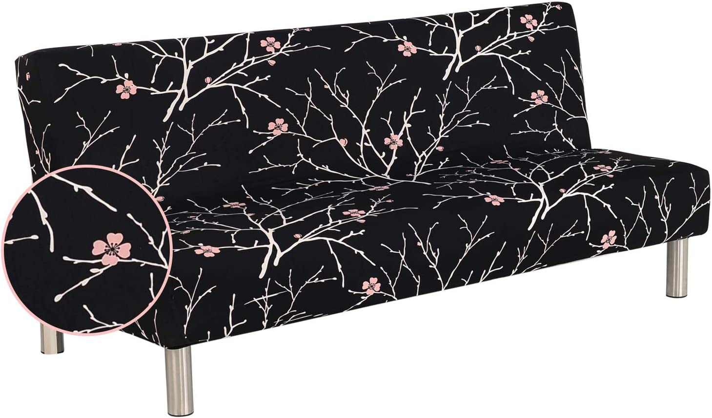Fundas de Sofá Sin Brazos Plegable Fabric Poliéster Spandex Protector de Muebles Cubre Sofa Cubierta para Sofa Cama Fundas de Clic-clac Elástica Impresión Vintage Negro/Patrón Planta