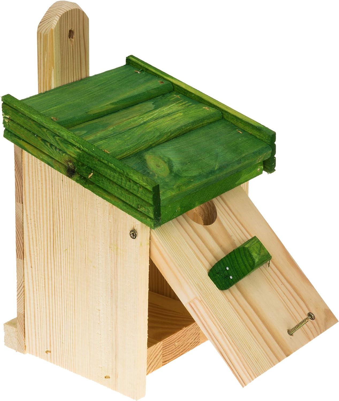 MAZUR International Casa de pájaros de madera para colgar caja de nido para pájaros azules, gorrión, petiros, para nidos en tu jardín, ver pajarera, set en valla, nido, nester