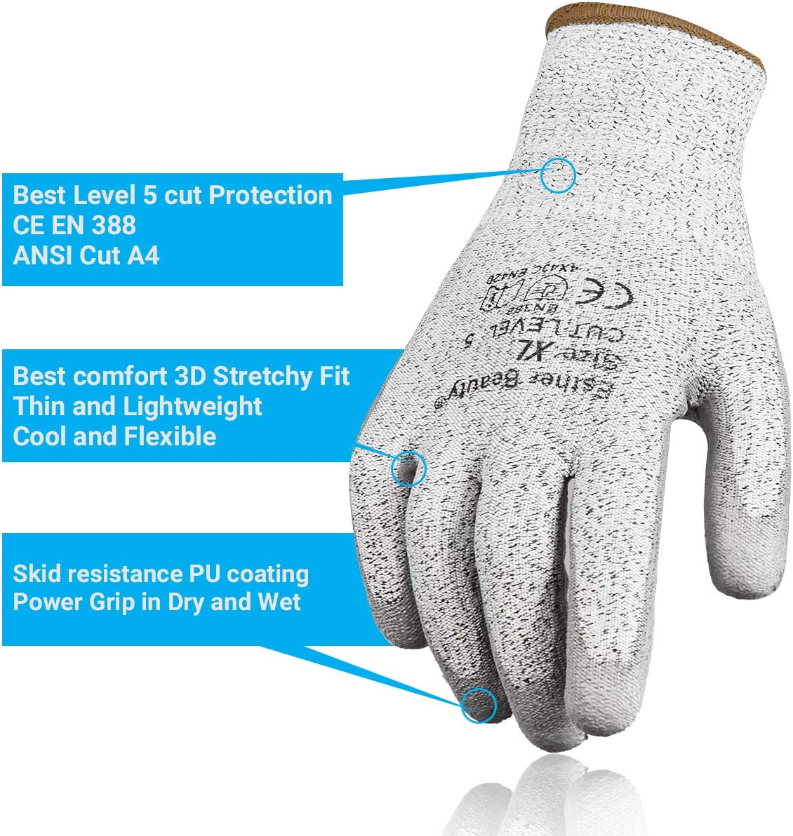 Kitchen Cutting Multifunctional Men Working Gloves for Garden Fishing Extra Large Home Improvement Esther Beauty 3 Pairs Women Gardening Gloves with Cut Resistant Level 5 Protection