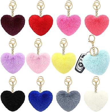 Blue With Pink Heart Fox Fur Pom Pom Keyring