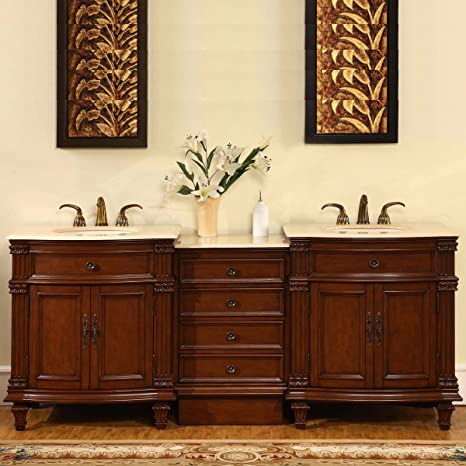 Silkroad Exclusive HYP 0205 CM UIC 80 Marble Double Sink Bathroom Vanity With Cherry Finish Cabinet 80 Medium Wood