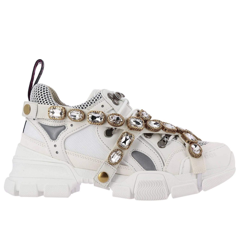 3a2c58196 Gucci Mujer 541445GGZ509081 Blanco Tela Zapatillas: Amazon.es: Zapatos y  complementos