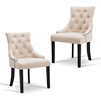New Retail Global Accent Chairs Set Of 2 Fabric Tufted Dining Chairs  Leisure Padded Armrest,