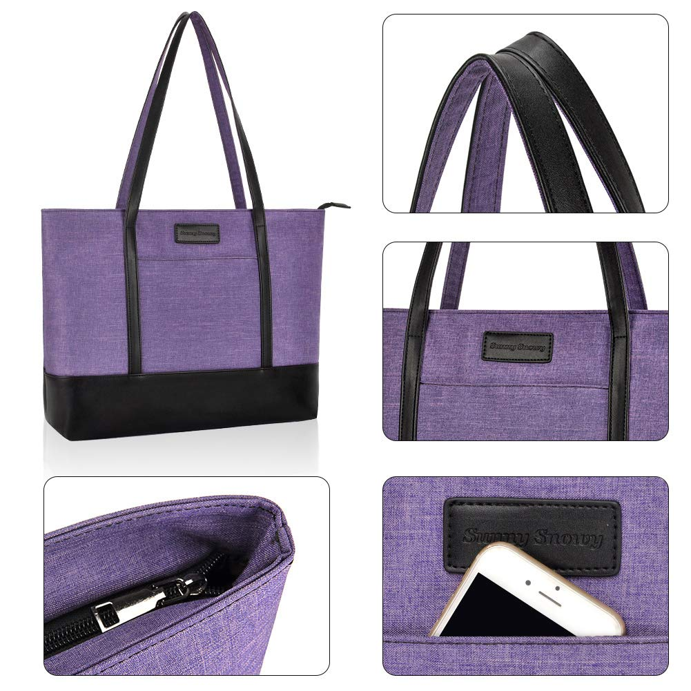 Laptop Tote Bag,Fits 15.6 Inch Laptop,Womens Lightweight Water Resistant Nylon Tote Bag Shoulder Bag Ideal for Her(C-Purple) by Sunny Snowy (Image #4)