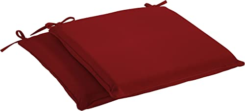 Mozaic Sunbrella AMCS114006 Indoor Outdoor Cushion Corded Chair Pad Set, 19 in W x 17 in D, Canvas Jockey Red