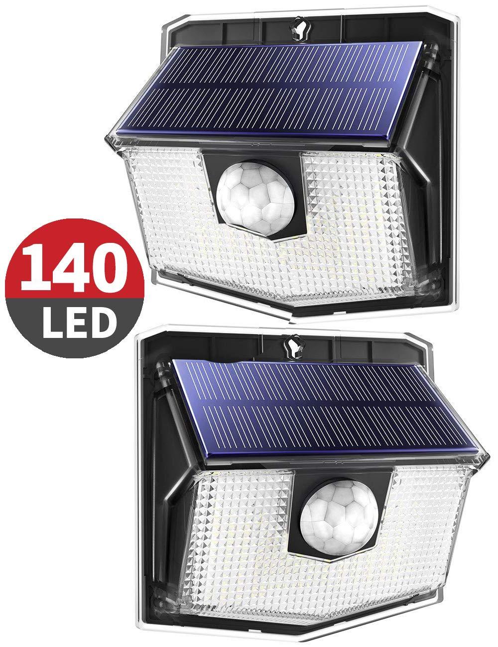 Mpow Luz Solar Exterior 140LED,IP 67 Impermeable Lámpara Solar de 3-8M Detección, 270º Gran Angular de Iluminación con 120° Sensor de Movimiento product image