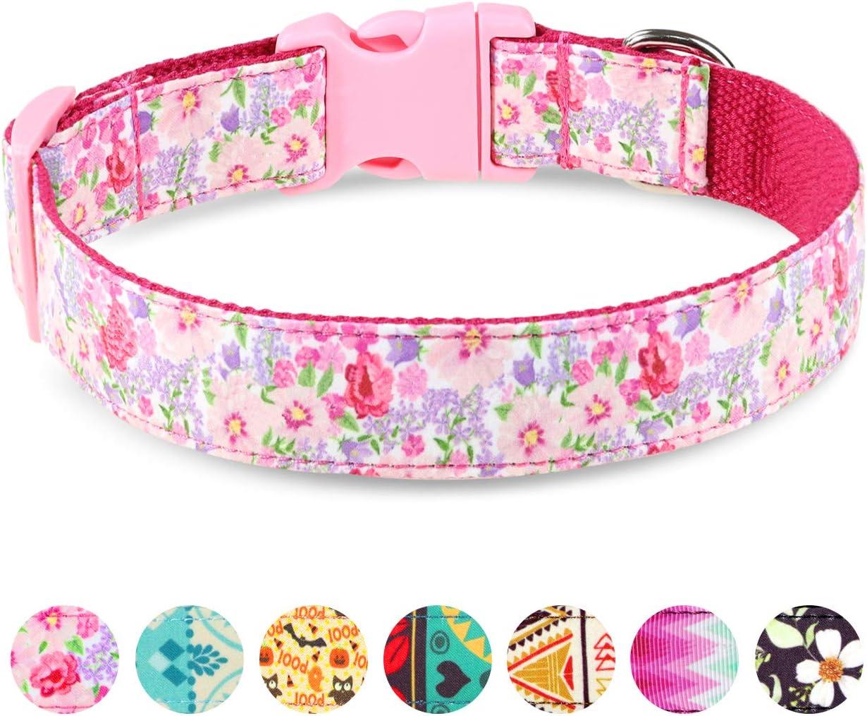 Taglory Collar Perro Ajustable,Estilo Único Collar Adiestramiento para Perros Medianos,35-50cm Flor Rosa