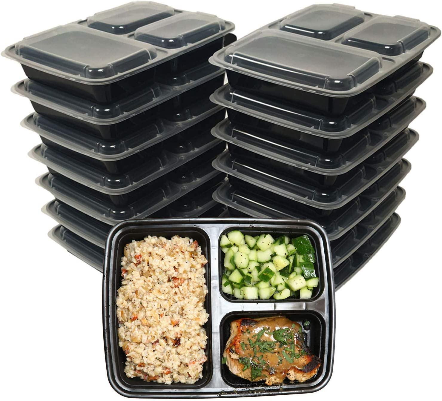 Tiger Chef Meal Prep Containers, Bento Box Food Storage with Lids - 3 compartment Lunch Box - Take Out Food Container - BPA Free Reusable - 12 Pack