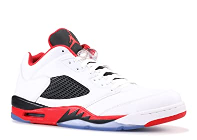 huge discount ac67b dc473 Nike Mens Air Jordan 5 Retro Low Fire Red White Fire Red-Black Leather