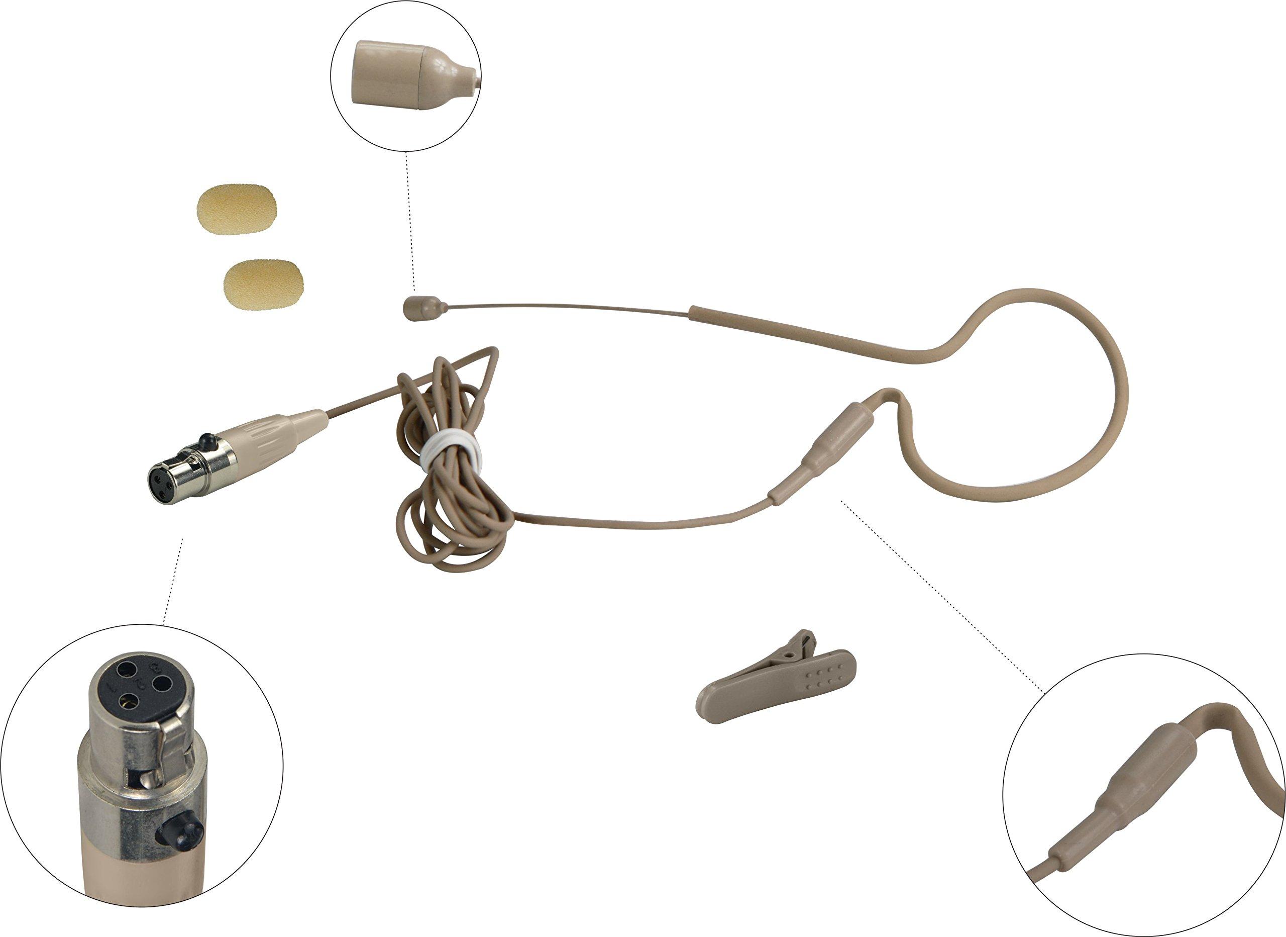 HEIMU 3 Pin Mini XLR Single Earhook Headset Microphone for Akg Body-pack (for AKG type 3 pin mini plug SKIN) by HEIMU