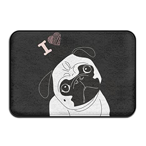 Felpudo personalizado con texto en inglés «Not Today Pug Dog Emoji»