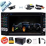 New Arrival!!! EinCar 6.2inch 2 Din Car DVD Player Stereo Radio Touch Screen Bluetooth GPS SAT NAVI In-Dash Head Unit USB AUX Color Buttons with FREE Wireless Camera & Map Card & Remote Control