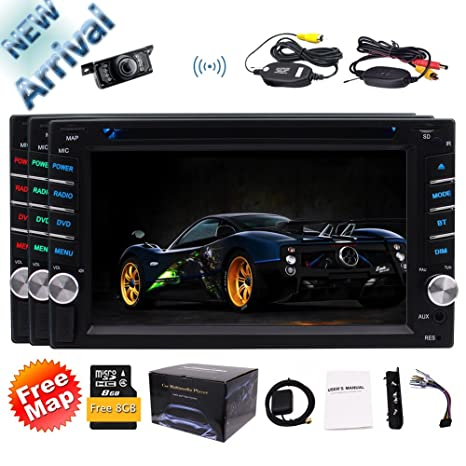 New Arrival!!! EinCar 6.2inch 2 Din Car DVD Player Stereo Radio Touch Screen Bluetooth GPS SAT NAVI In-Dash Head Unit USB AUX Color Buttons with FREE ...