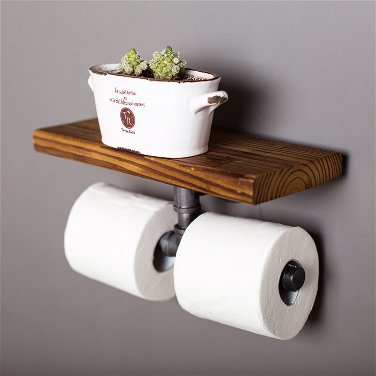 KINGSO Industrial Iron Pipe Decor Toilet Paper Holder, Mounted Floating Rack for Bathroom, Electroplated Black Oil-Paint Surface Paper Towel Rack (30x14cm)