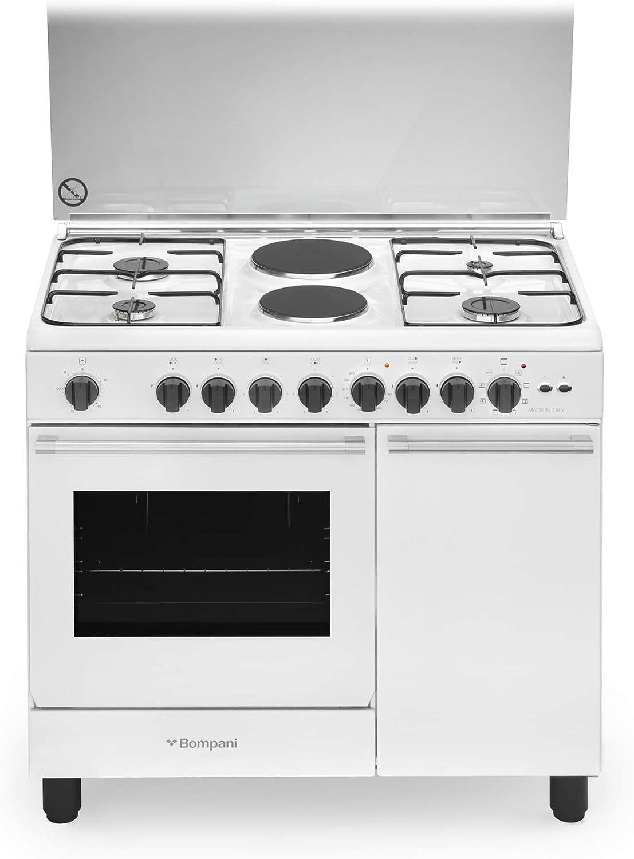 Cocina de gas con horno eléctrico ventilado, 4 fuegos + 2 placas eléctricas, 90 x 60 cm, color blanco
