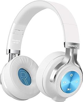 Riwbox XBT-880 - Auriculares inalámbricos bluetooth, con micrófono, control de volumen y cable, para PC, teléfonos móviles, TV, iPad Blanco y azul: Amazon.es: Electrónica