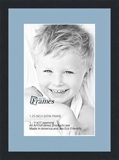 Arttoframes 11 X 17 Inch Opening Single Mat With A Satin Black 1 25 Wide Picture Frame 2 French Blue Mat