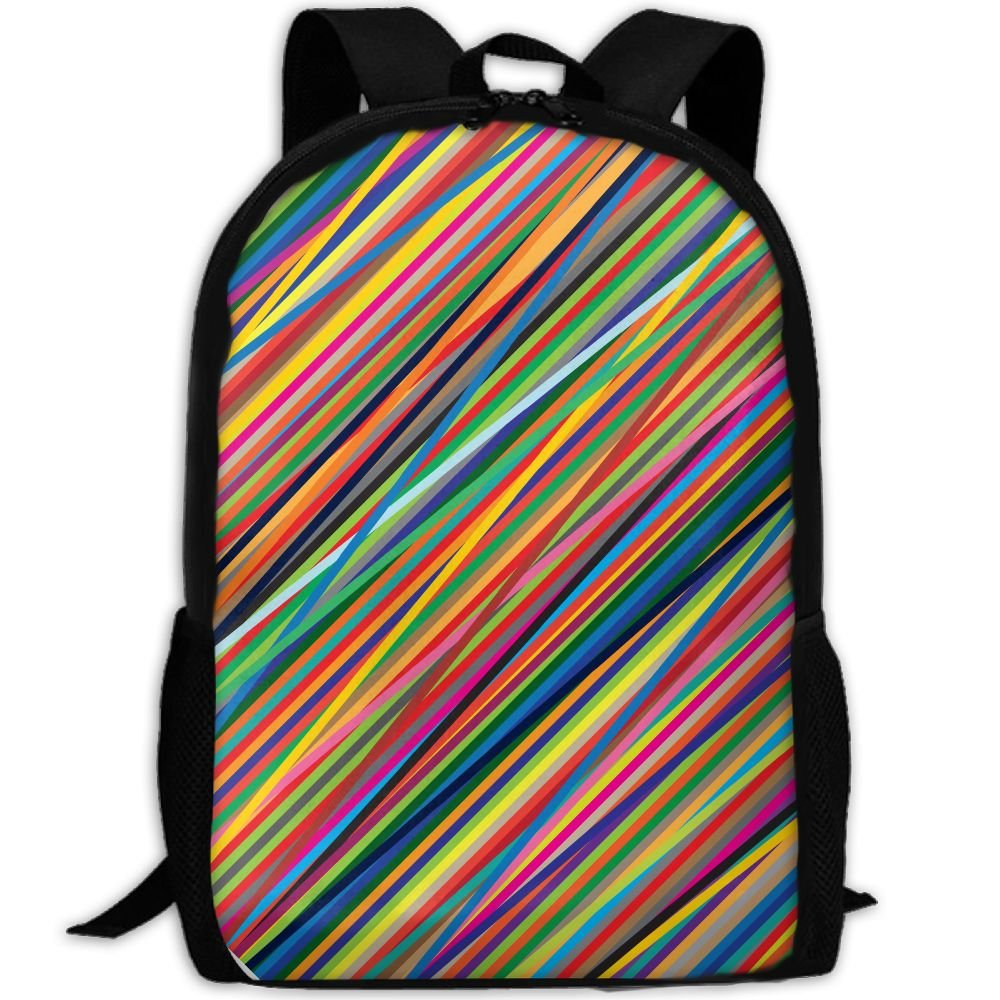 Geometry Colour Lines Double Shoulder Backpacks For Adults Traveling Bags Full Print Fashion by THIS STORE
