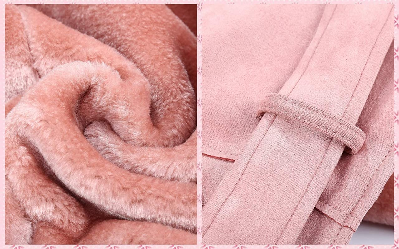 Bellivera Women's Faux Leather Short Jacket, Moto Jacket with Detachable Faux Fur Collar Pink