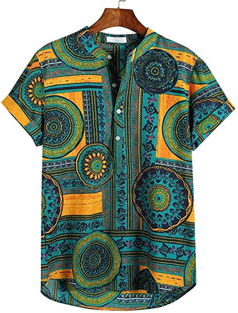PARVAL Camisetas para Hombre India Impreso Algodón de Lino Camisas ...