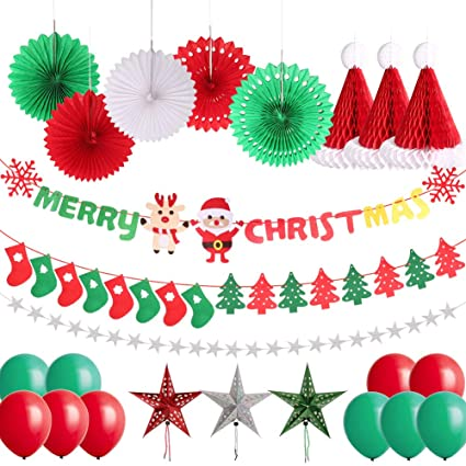 Christmas Party Decorations.Delicacy 25 Pcs Merry Christmas Party Decorations Christmas Sock Tree Banner Hanging Paper Star Fans Honeycomb Hat Balloons For Xmas Holiday Party