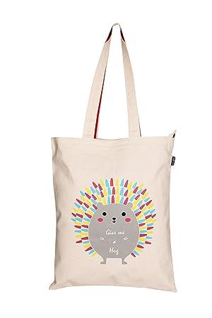 cd105a7ed Eono Essentials - Bolsa al hombro de 100 % algodón/tela, reutilizable y  ecológica, con cremallera y con estampado «Hug me Porcupine» Beige  (Natural): ...