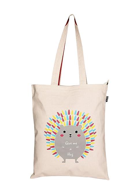 Amazon Marka: Eono Essentials - Bolsa al hombro de 100 % algodón/tela, reutilizable y ecológica, con cremallera y con estampado «Hug me Porcupine» ...