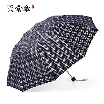 Paraguas Plegables Paraguas de Tela Escocesa Paraguas de Hombre y Mujer B Paraguas Grande de Diez
