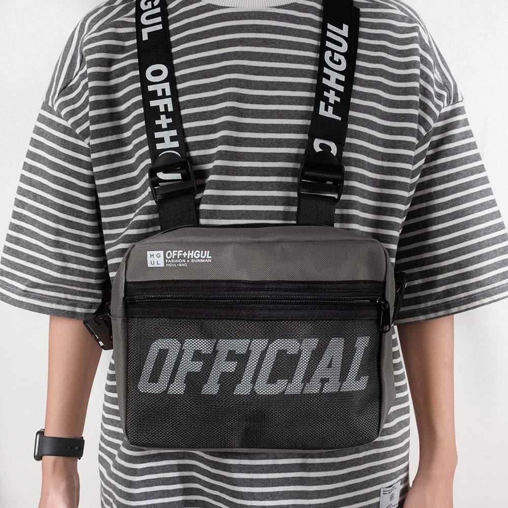 grey Ousawig Chest Rig Bag Adjustable Shoulder Pack Walkie Talkie Harness Radio Holster Holder For Men Women