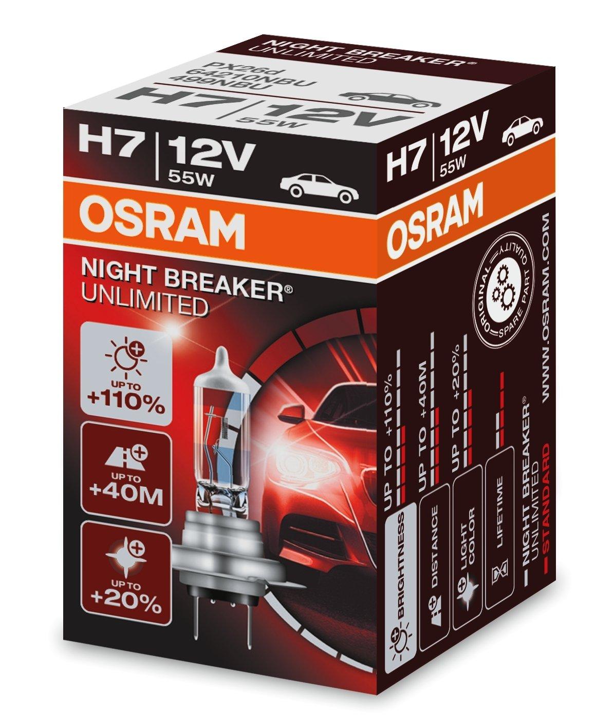 Osram 4X H7 12V 55W NIGHTBREAKER Unlimited 110/% 40m Halogen Lampen